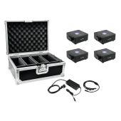 EUROLITE Set 4x AKKU Flat Light 1 black + Case + Charger