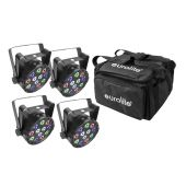 EUROLITE Set 4x AKKU Mini PARty RGBW Spot + Soft-Bag
