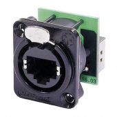 Neutrik Ethercon D-size Feedthrough receptacle in D-sized black chrome metal flange with the secure latching system. Black