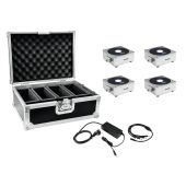 EUROLITE Set 4x AKKU Flat Light 1 silver + Case + Charger