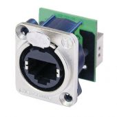 Neutrik Ethercon D-size Feedthrough receptacle in D-sized metal flange with the secure latching system. Nickel