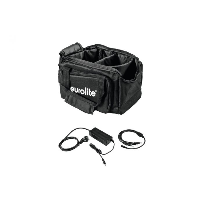 EUROLITE Set SB-14 Soft-Bag + Charger 4x AKKU Flat Light 1